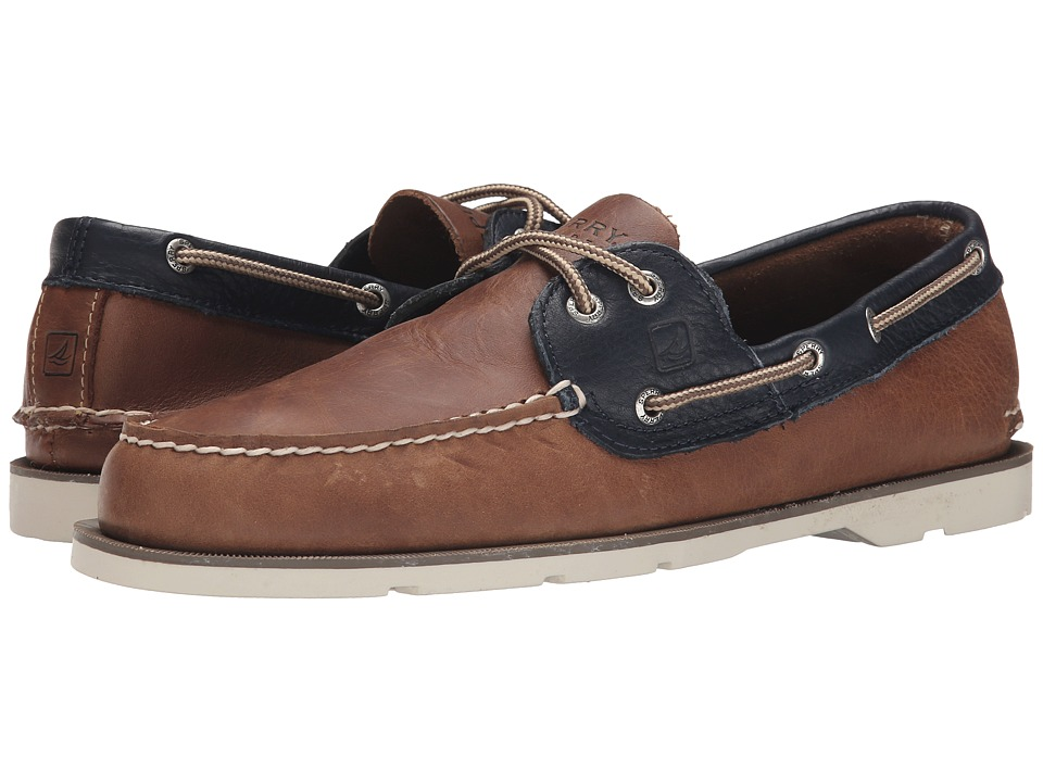Sperry Top-Sider - Leeward 2-Eye (Tan/Navy) Men's Lace Up Moc Toe Shoes