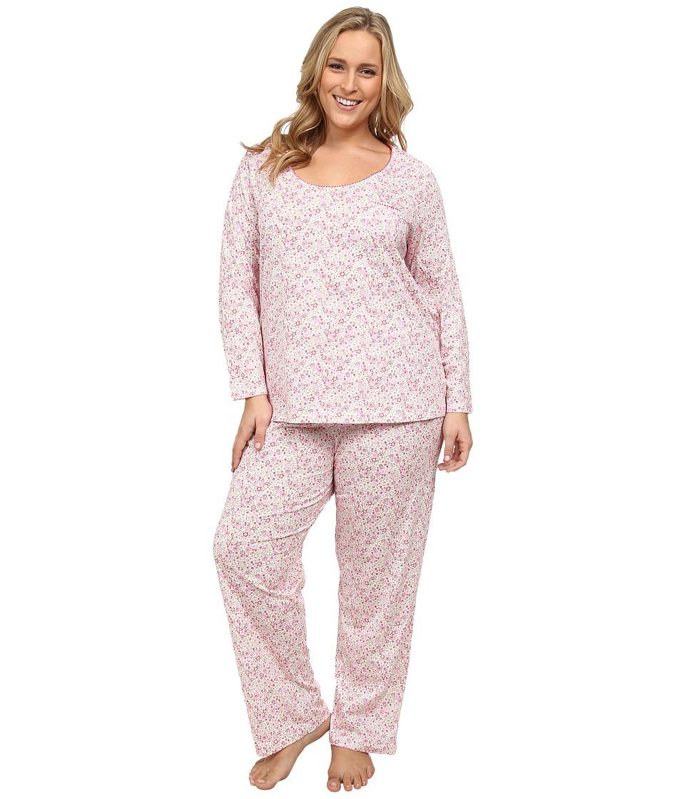 Carole Hochman - Plus Size Printed Long Sleeve Pajama (Delicate Daisy) Women