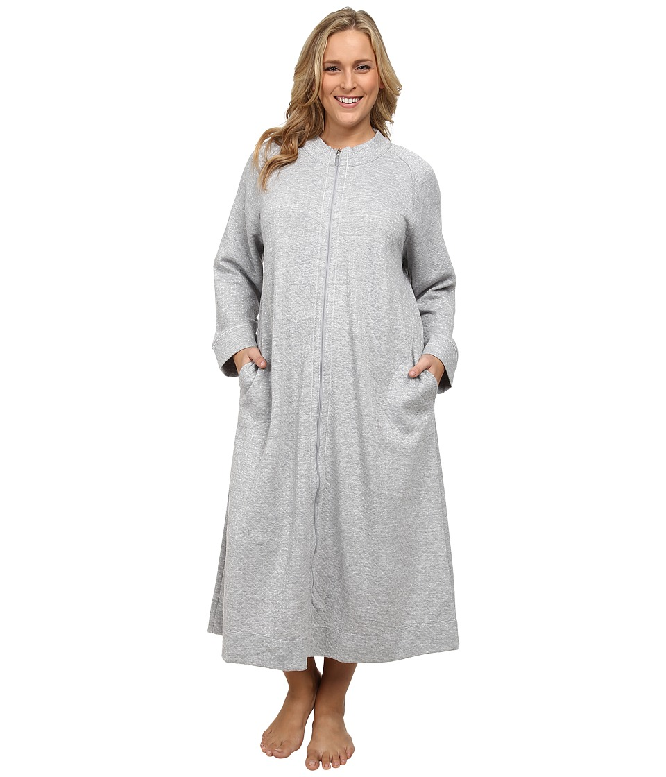 Carole Hochman - Plus Size Zip Robe (Grey Heather) Women's Robe