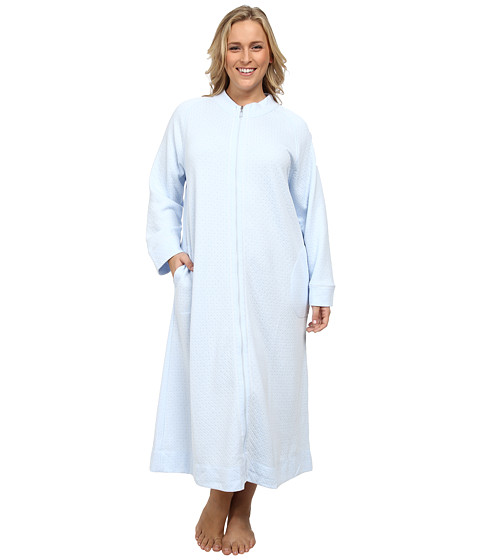 Carole Hochman - Plus Size Zip Robe (Cloud Blue) Women's Robe