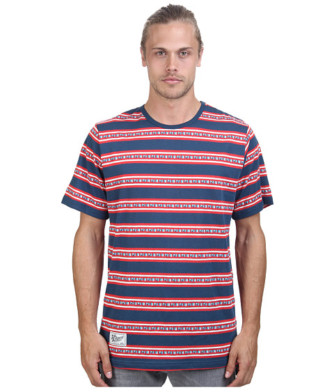 L-R-G - Jango Short Sleeve Stripe Knit Tee (Nautical Blue) Men's Short Sleeve Pullover