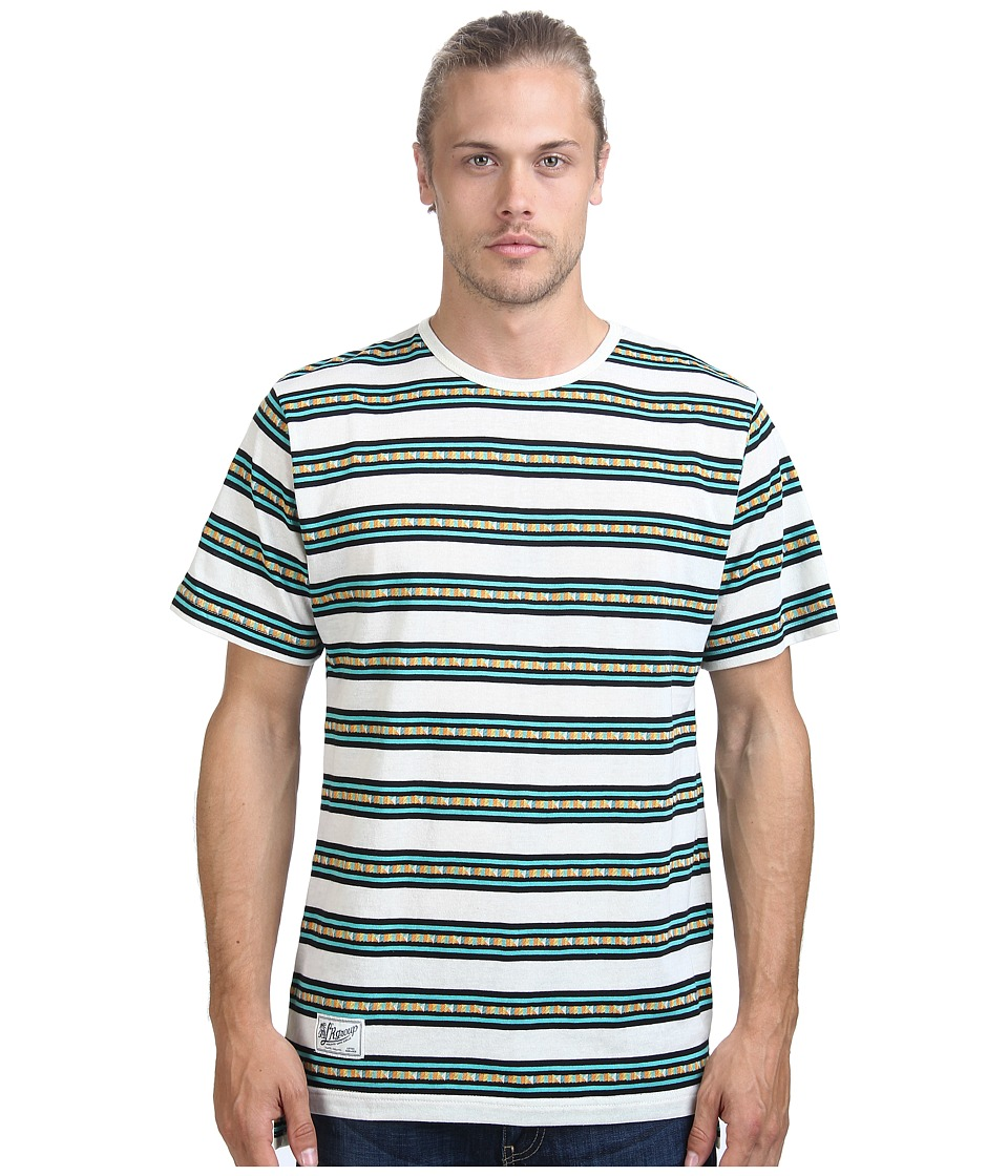 L-R-G - Jango Short Sleeve Stripe Knit Tee (Off White) Men's Short Sleeve Pullover