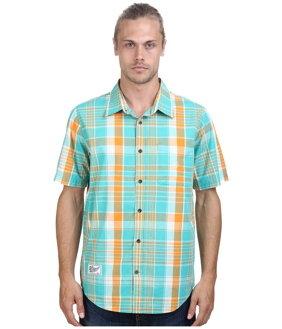 L-R-G - Franco Hova Short Sleeve Woven (Sea Green) Men's Short Sleeve Button Up