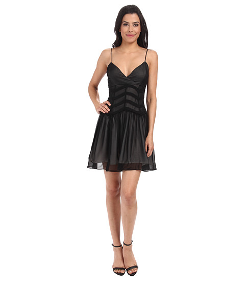 Bardot - Chevron Mesh Dress (Black/Nude) Women's Dress