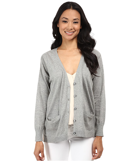 525 america - Mixed Texture Two Color Cardigan (Heather Grey Combo) Women's Sweater