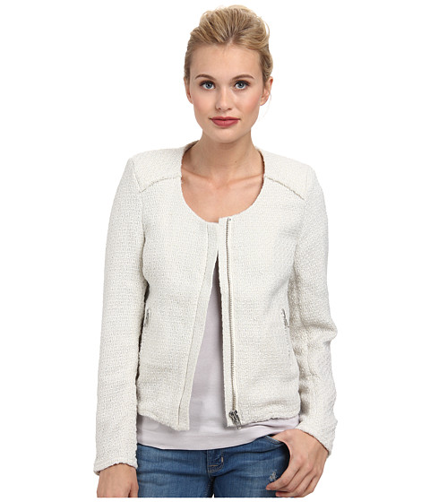 Bardot - Frayed Boucle Jacket (Cream) Women's Coat