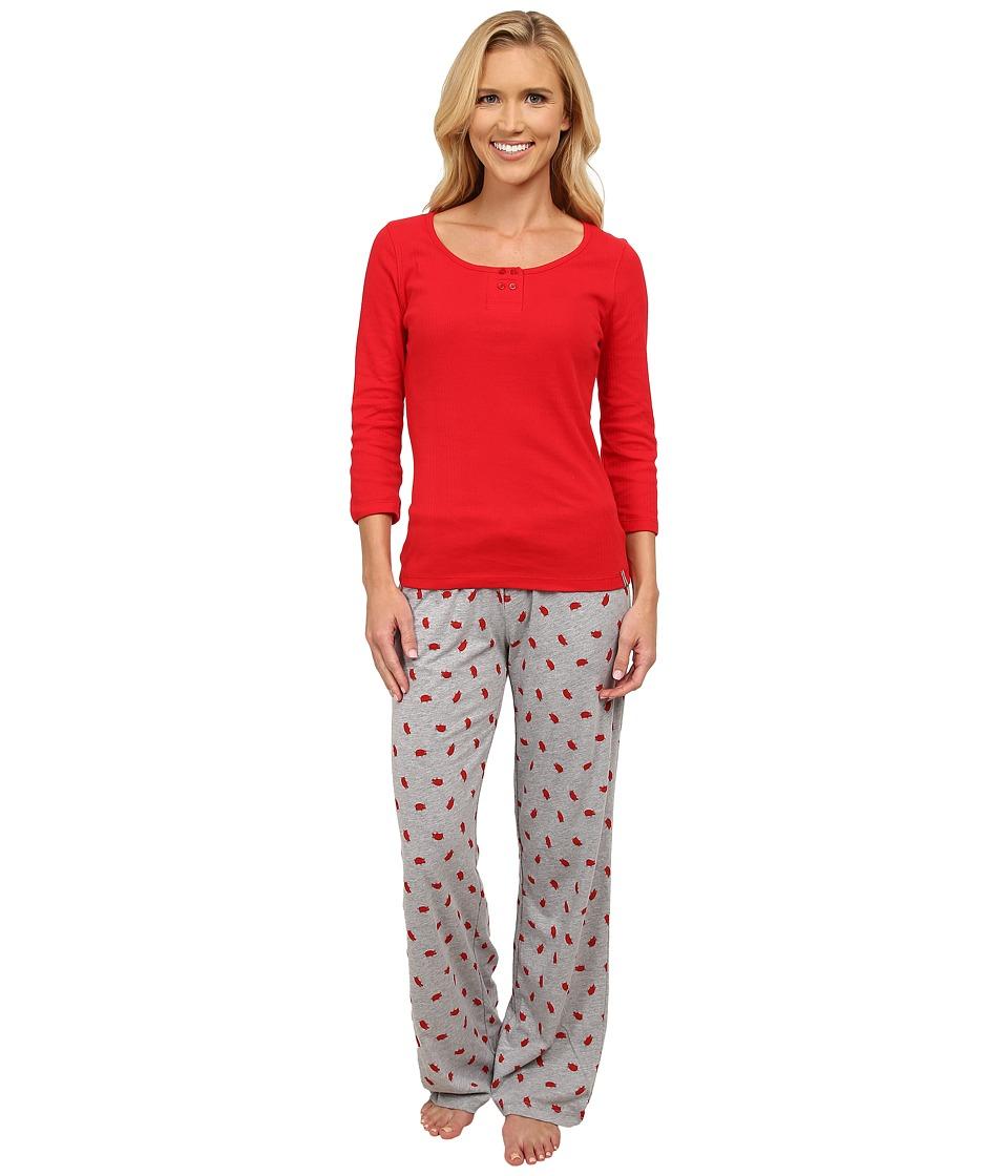 Jane & Bleecker - Varigated Rib Tee Jersey Pants (Piggy On Campus) Women's Pajama Sets