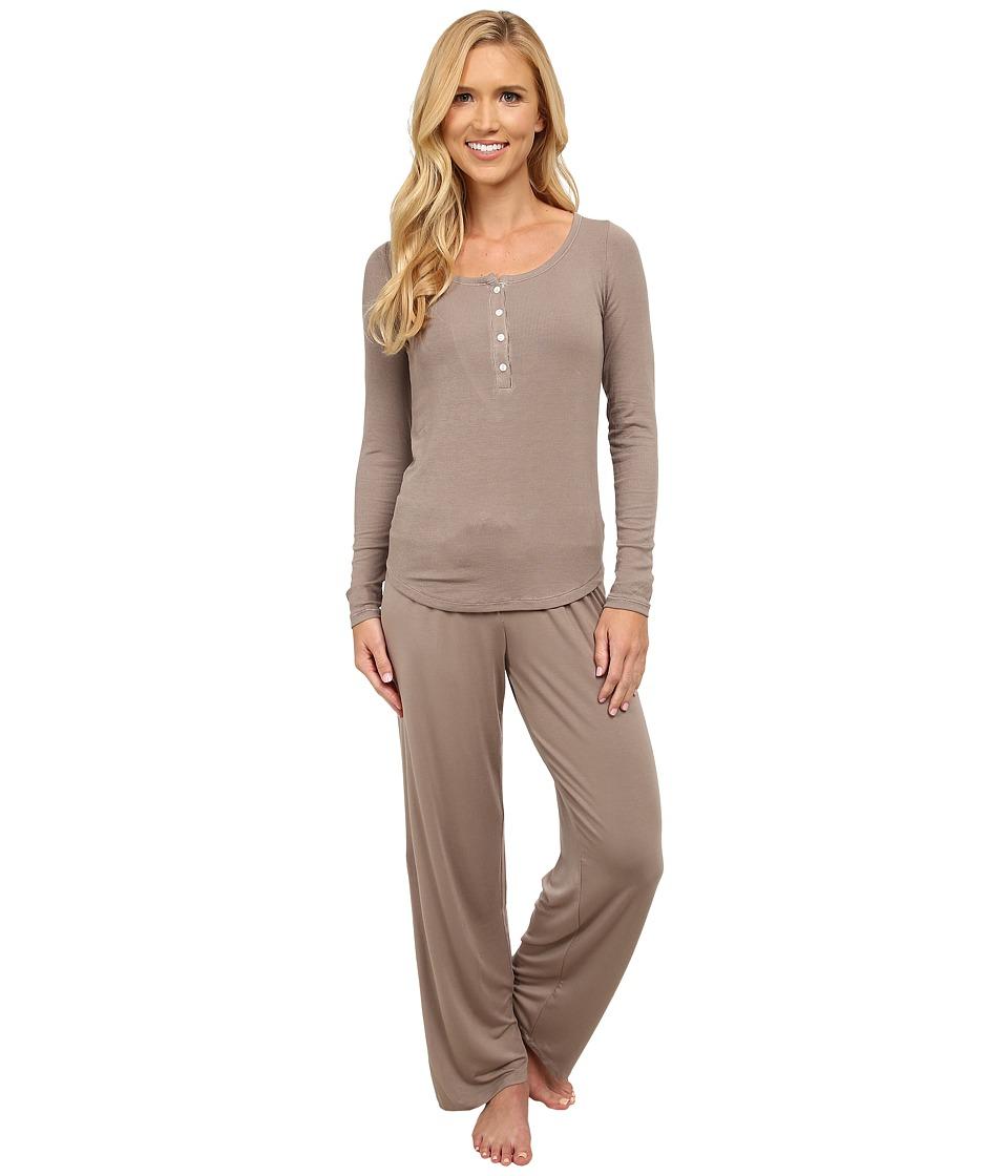 Midnight by Carole Hochman - Me Time Rib Pajama (Warm Taupe) Women's Pajama Sets