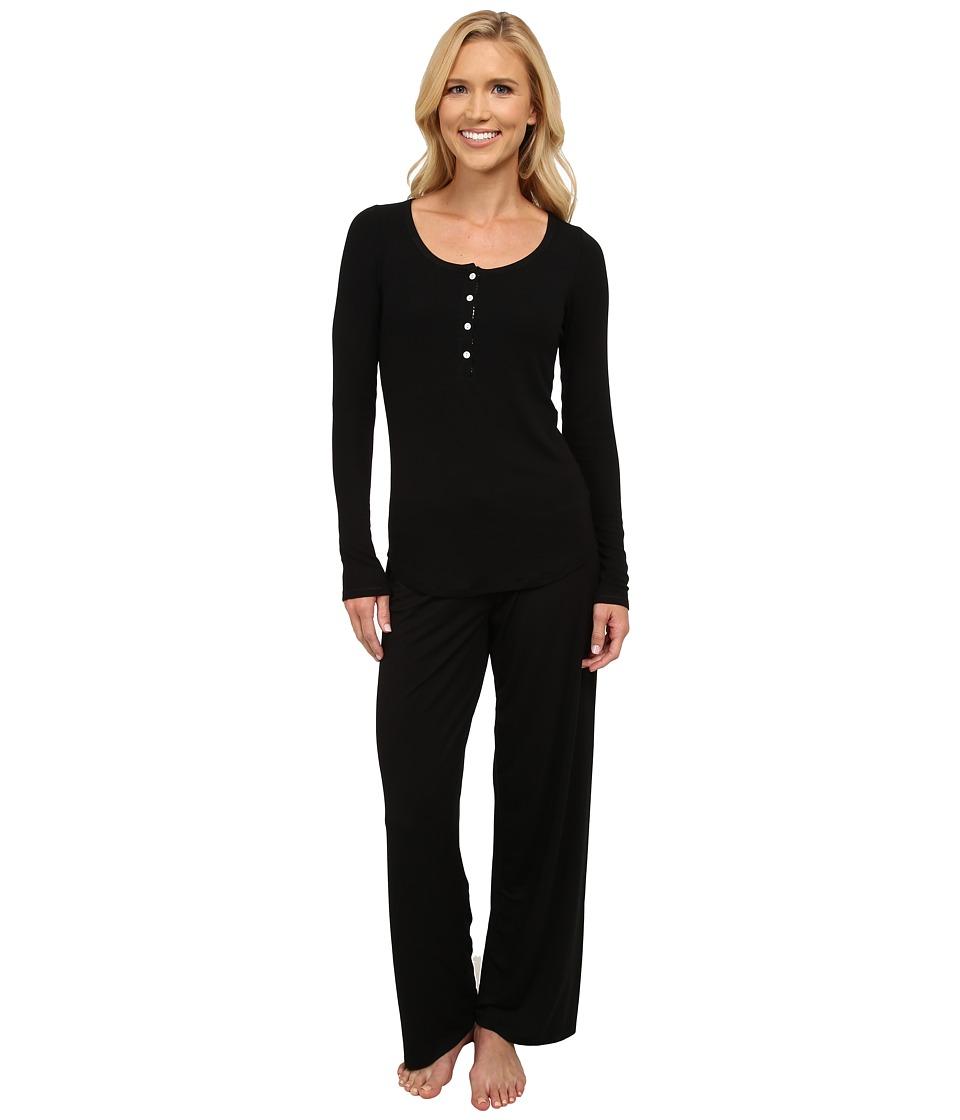Midnight by Carole Hochman - Me Time Rib Pajama (Black) Women's Pajama Sets