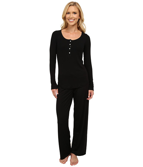 Midnight by Carole Hochman - Me Time Rib Pajama (Black) Women's Pajama Sets