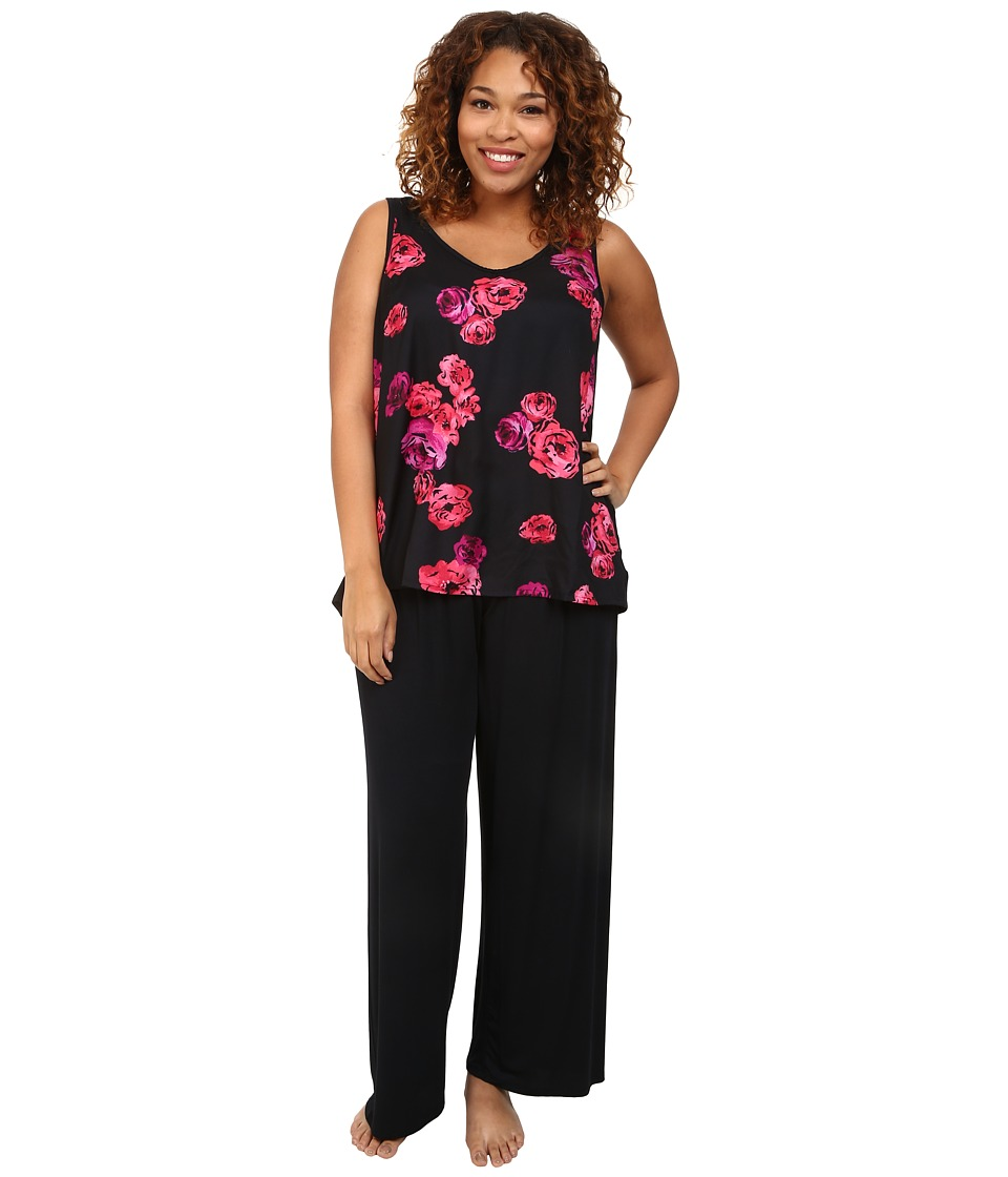 Midnight by Carole Hochman - Plus Size Floating Floral Pajama Set (Floating Floral) Women