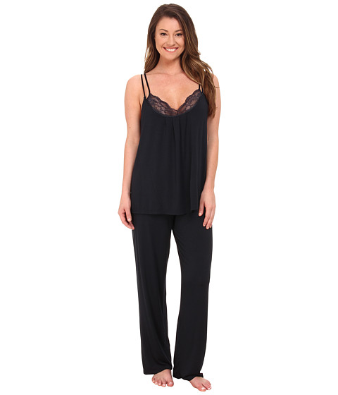 Midnight by Carole Hochman - Reve De Chantilly Pajama with Lace (Midnight) Women
