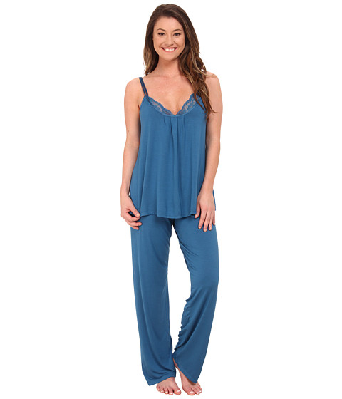 Midnight by Carole Hochman - Reve De Chantilly Pajama with Lace (Belcampo Blue) Women's Pajama Sets