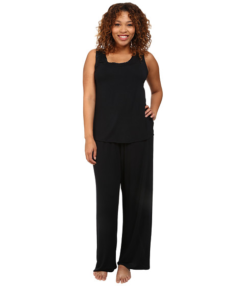 Midnight by Carole Hochman - Plus Size Better Together Core Pajama with Satin (Midnight) Women