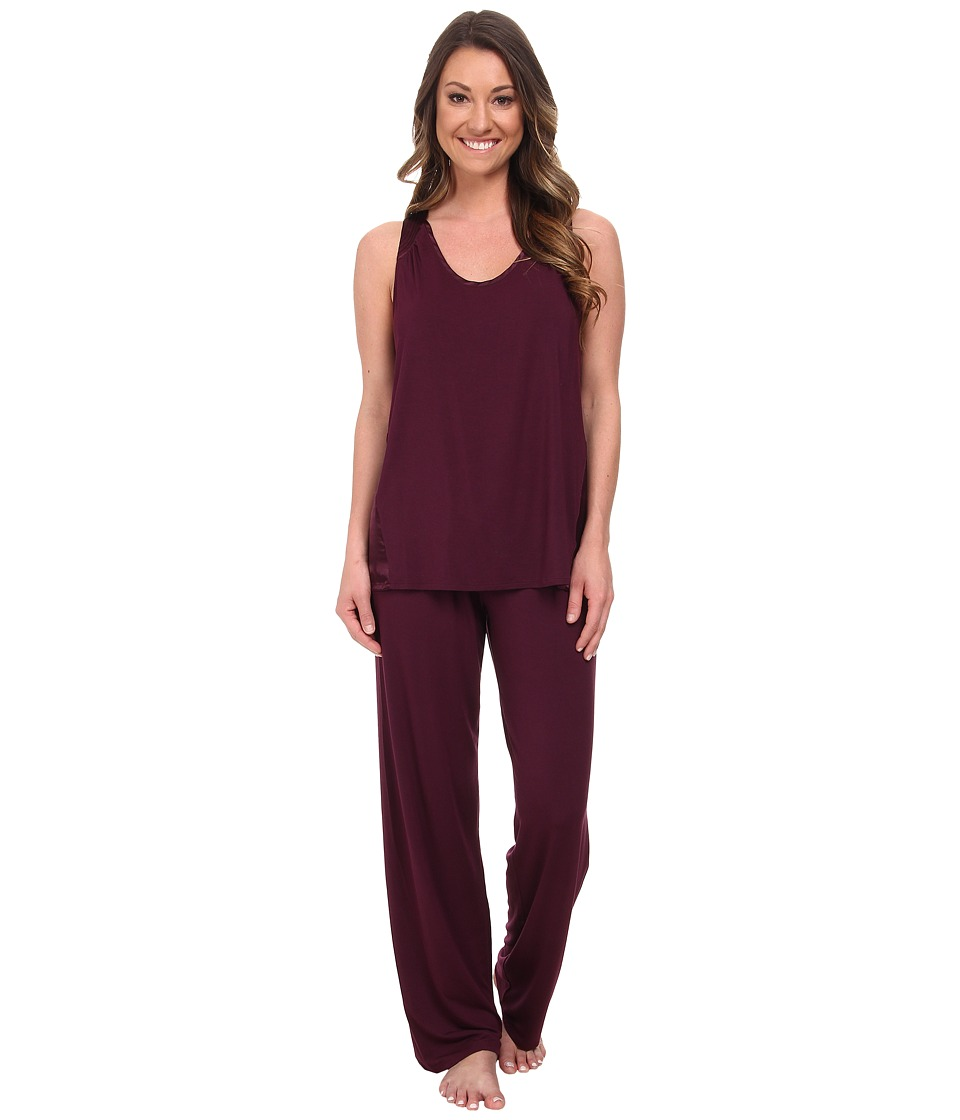 Midnight by Carole Hochman - Better Together Core Pajama with Satin (Plum) Women's Pajama Sets