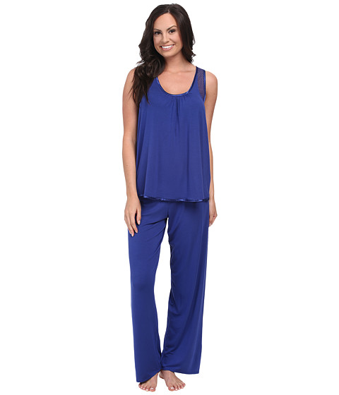 Midnight by Carole Hochman - Annette Stripe Pajama with Geo Lace (Forever Blue) Women's Pajama Sets