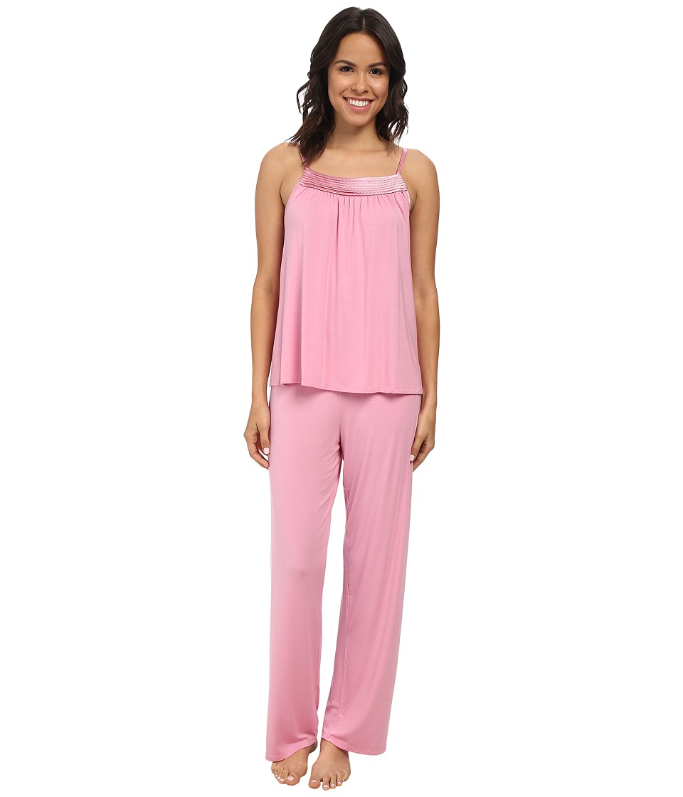 Midnight by Carole Hochman - Looking For Love Pajama with Scallop Stitched Satin Trim (Rose Water) Women