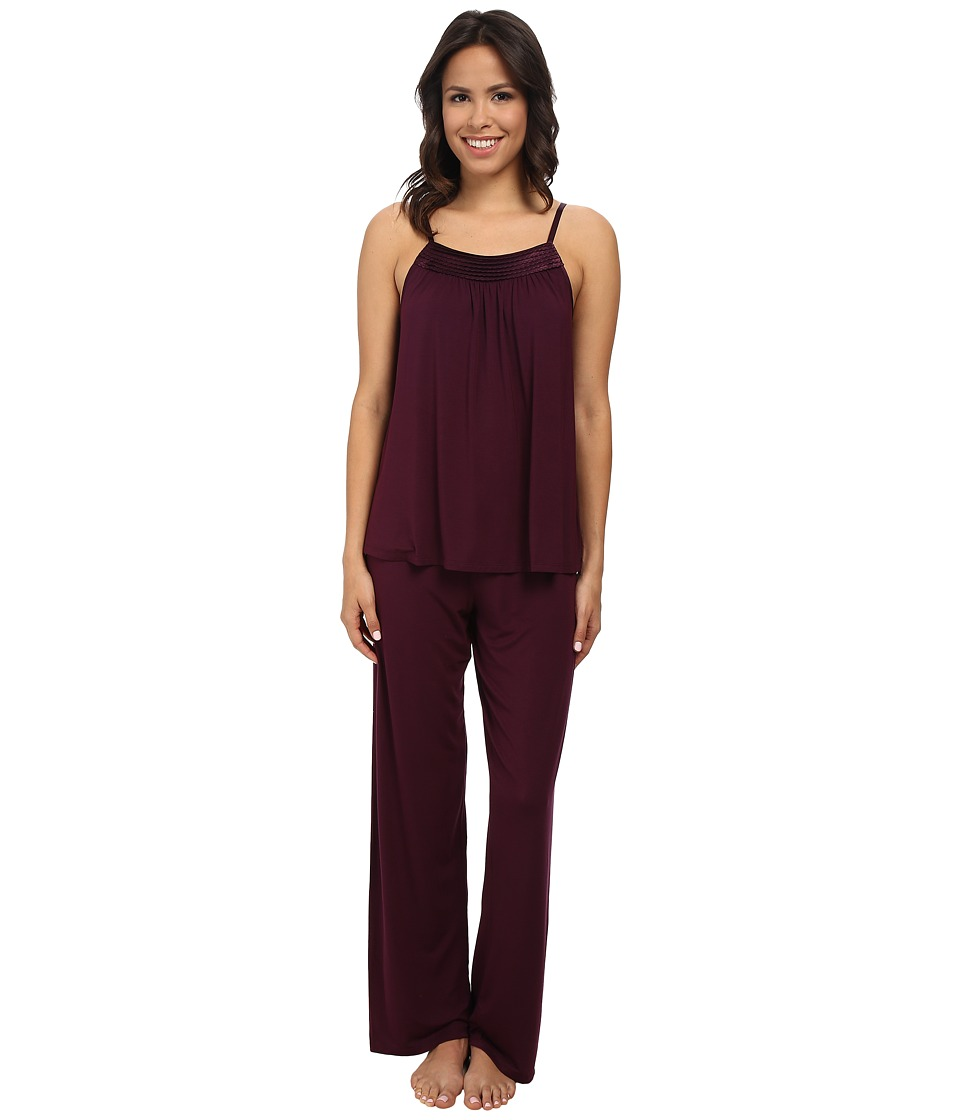 Midnight by Carole Hochman - Looking For Love Pajama with Scallop Stitched Satin Trim (Plum) Women's Pajama Sets