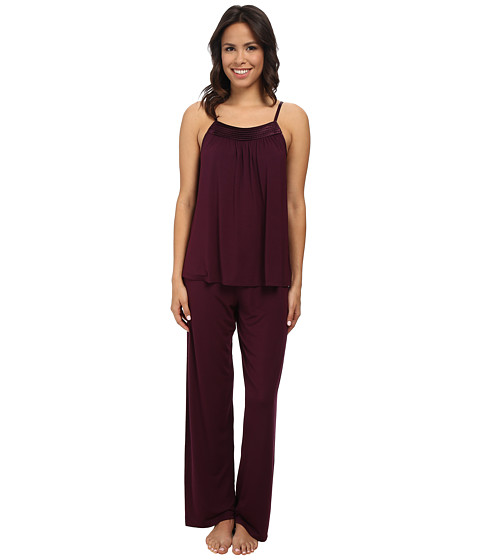 Midnight by Carole Hochman - Looking For Love Pajama with Scallop Stitched Satin Trim (Plum) Women