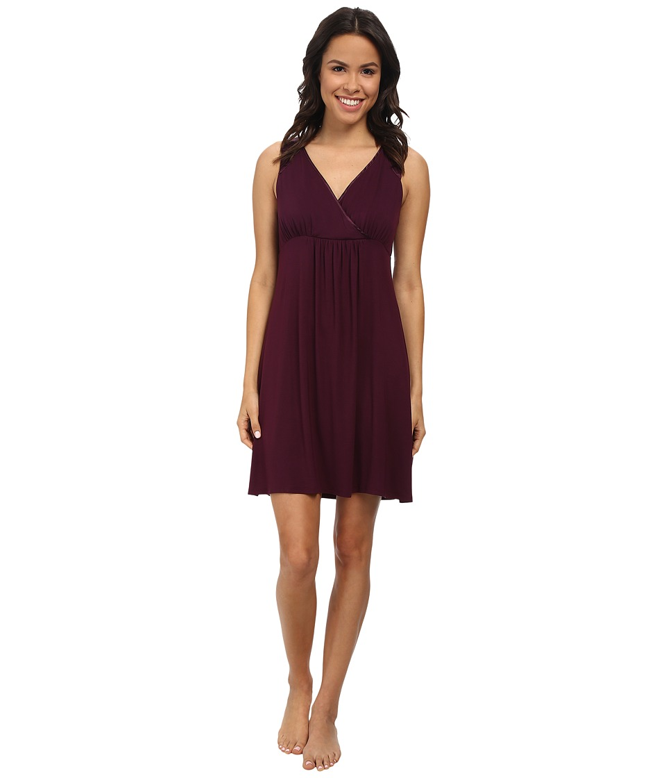 Midnight by Carole Hochman - Better Together Core Chemise with Satin (Plum) Women's Pajama
