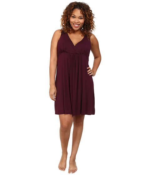 Midnight by Carole Hochman - Plus Size Better Together Core Chemise with Satin (Plum) Women's Pajama