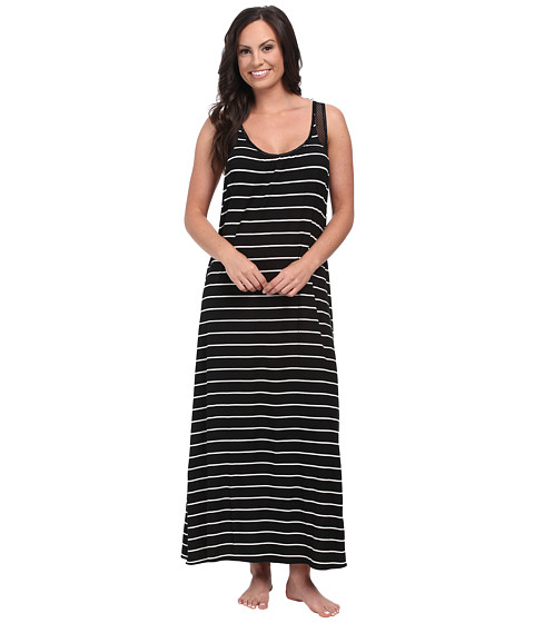 Midnight by Carole Hochman - Annette Stripe Maxi with Geo Lace (Annette Stripe Black) Women's Pajama
