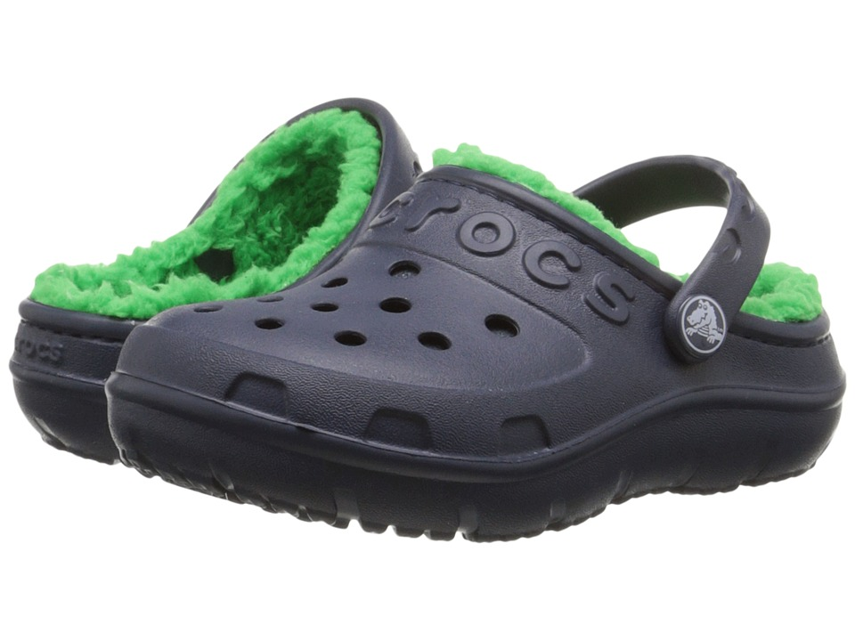 Crocs Kids - Hilo Lined Clog (Toddler/Little Kid) (Navy/Grass Green) Kids Shoes
