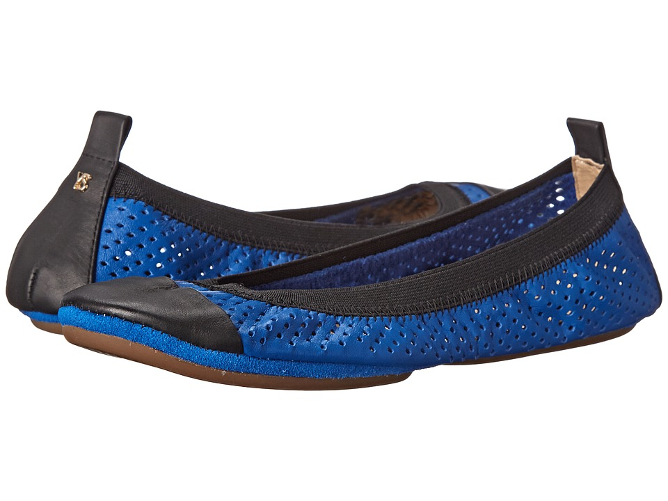 Yosi Samra - Samantha Perforated Leather Fold Up (Marina Blue/Black) Women's Flat Shoes