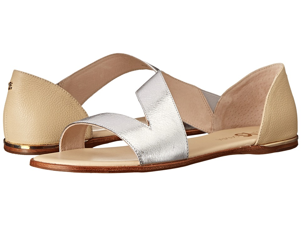 Yosi Samra - Casey Crossover Leather Sandal (Silver/Biscotti) Women's Sandals