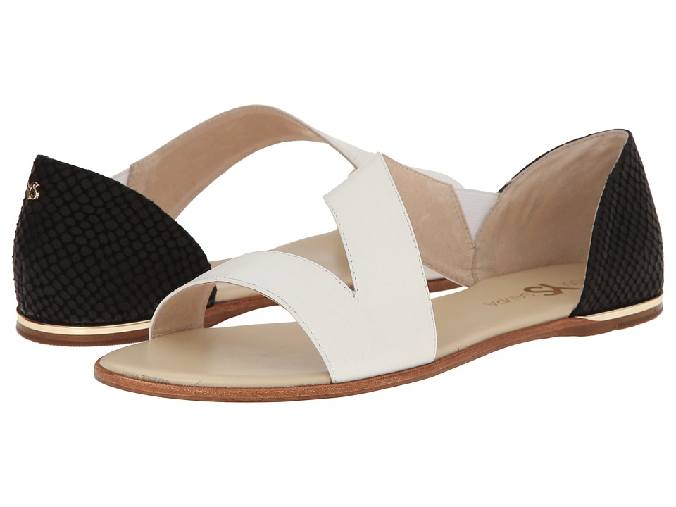 Yosi Samra - Casey Crossover Leather Sandal (White/Black) Women's Sandals