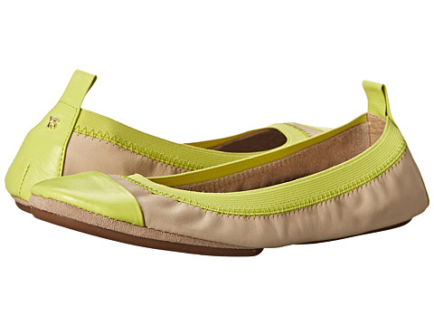 Yosi Samra - Samantha Soft Leather Fold Up Flat with Contrast Cap Toe (Biscotti/Limette) Women's Flat Shoes