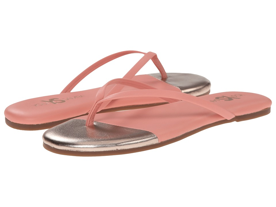 Yosi Samra - Roee Cap Metallic Leather Flip Flop (Sugar Melon/Rose Gold) Women