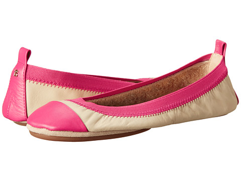 Yosi Samra - Samantha Two-Tone Leather Flat (Biscotti/Popsicle Pink) Women