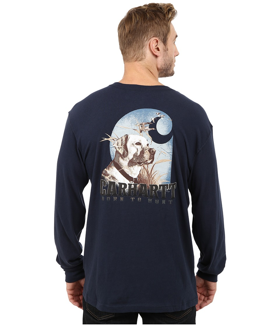 Carhartt - Maddock Graphic Dog and Field Long Sleeve Pocket Tee (Navy) Men
