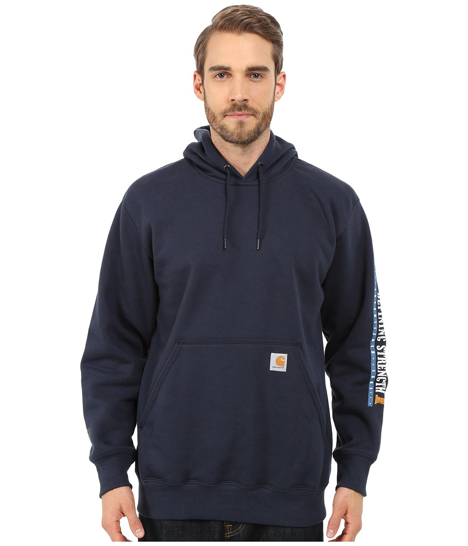 Carhartt - Rain Defender Paxton Heavyweight Hooded Sleeve Graphic Sweatshirt (Navy) Men