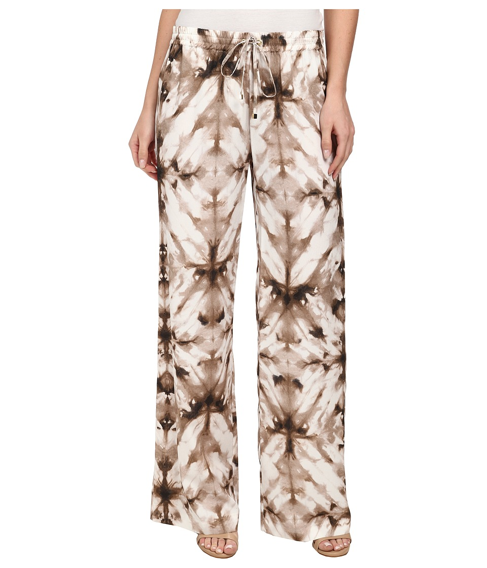 Calvin Klein - Printed Wide Leg Pants (Soft White/Latte Combo) Women's Casual Pants