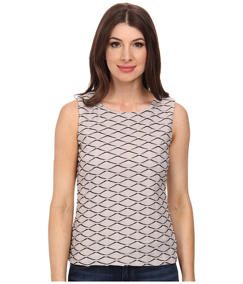 Calvin Klein - Sleeveless Textured Knit Top (Khaki/Black) Women's Sleeveless