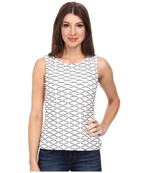 Calvin Klein - Sleeveless Textured Knit Top (White/Black) Women's Sleeveless