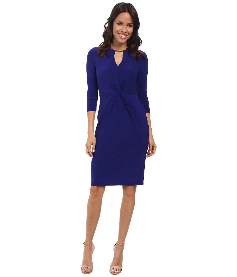 Vince Camuto - Long Sleeve Bodycon Jersey Twisted Dress w/ Hardware (Cobalt) Women