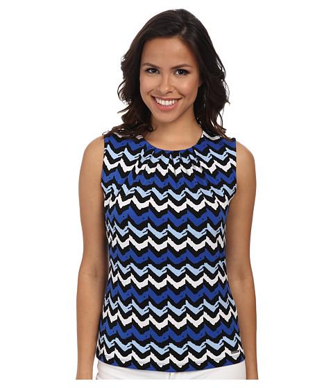 Calvin Klein - Multicolored Wavey Print Pleat Neck Cami (Regatta Multi) Women's Sleeveless