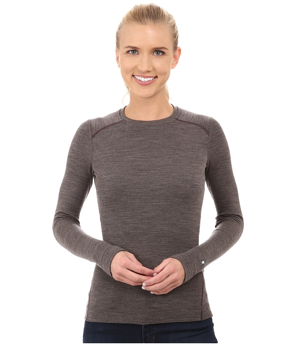 Smartwool - NTS Mid 250 Crew Top (Taupe Heather/Aubergine) Women's Long Sleeve Pullover
