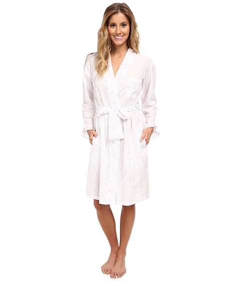Eileen West - Lily of the Valley Short Wrap Robe (Lavendar Embroidery) Women's Robe