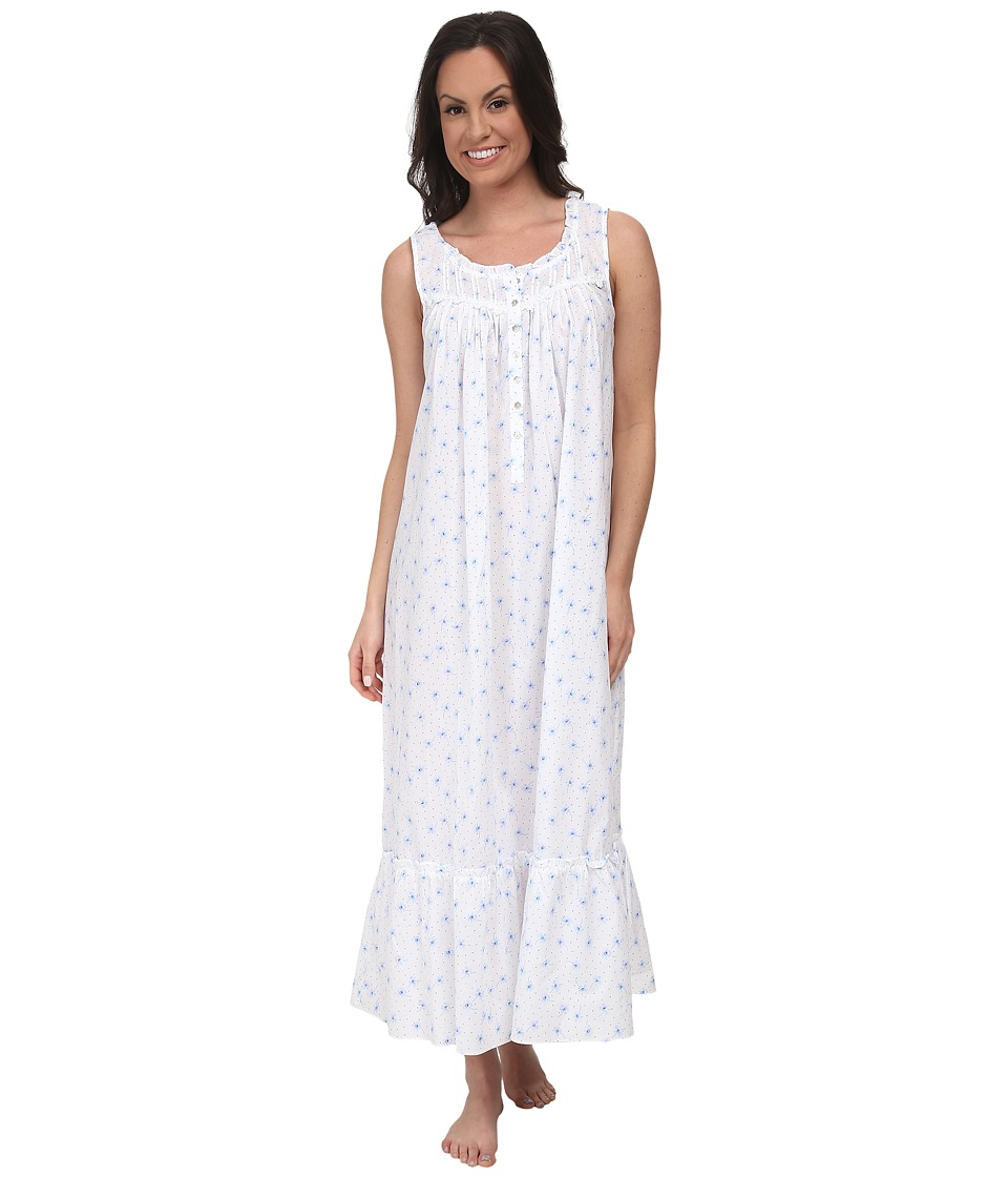 Eileen West - Summer Days Ballet Gown (Blue Floral) Women's Pajama