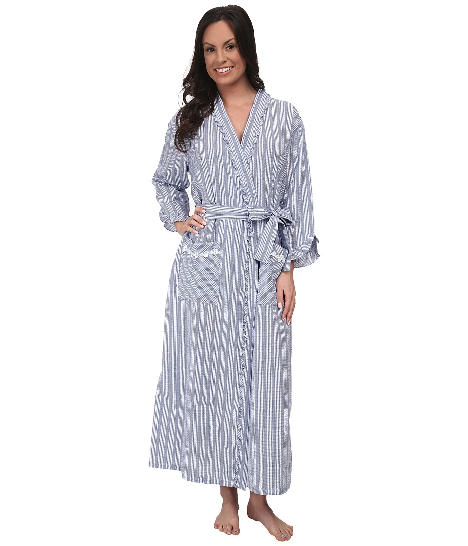 Eileen West - Summer Days Ballet Wrap Robe (Navy Seersucker) Women's Robe