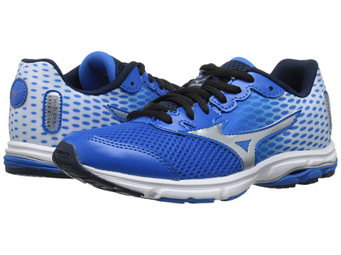 Mizuno - Wave Rider 18 (Little Kid/Big Kid) (Electric Blue Lemonade/White) Men