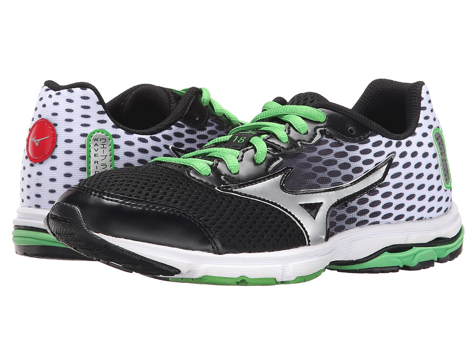 Mizuno - Wave Rider 18 (Little Kid/Big Kid) (Black/Classic Green/White) Men's Running Shoes