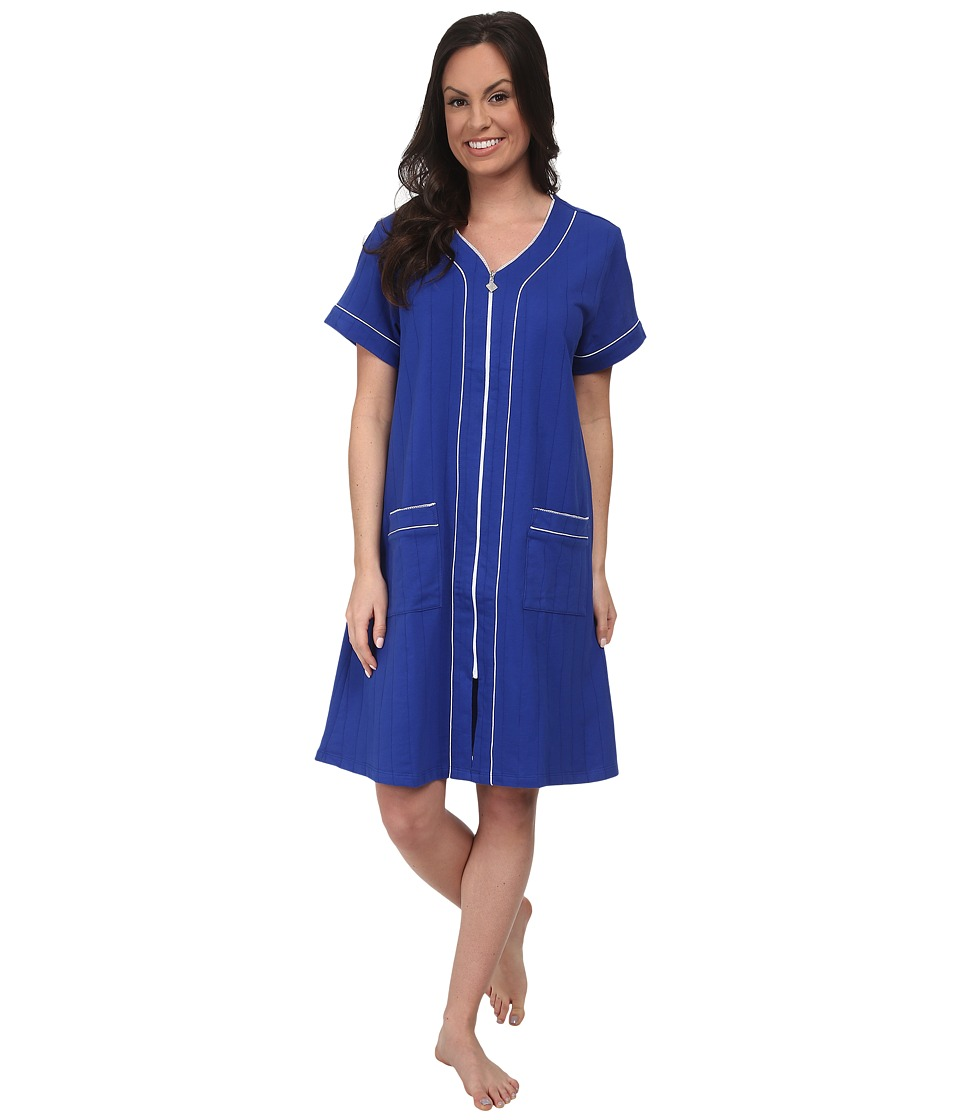 Eileen West - Classic Robes Short Zip Robe (Royal Blue) Women's Robe