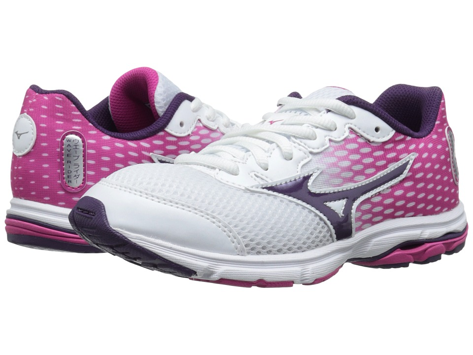 Mizuno - Wave Rider 18 (Little Kid/Big Kid) (White/Shadow Purple/Fuchsia Purple) Women's Running Shoes