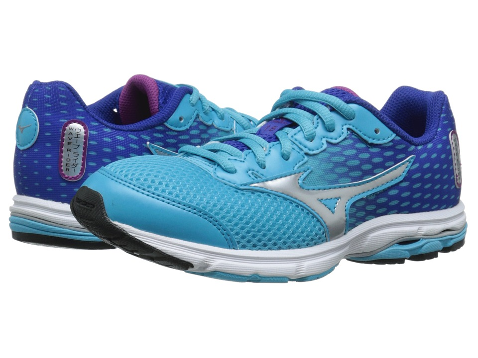 Mizuno - Wave Rider 18 (Little Kid/Big Kid) (Blue Atoll/Silver/Wild Aster) Women