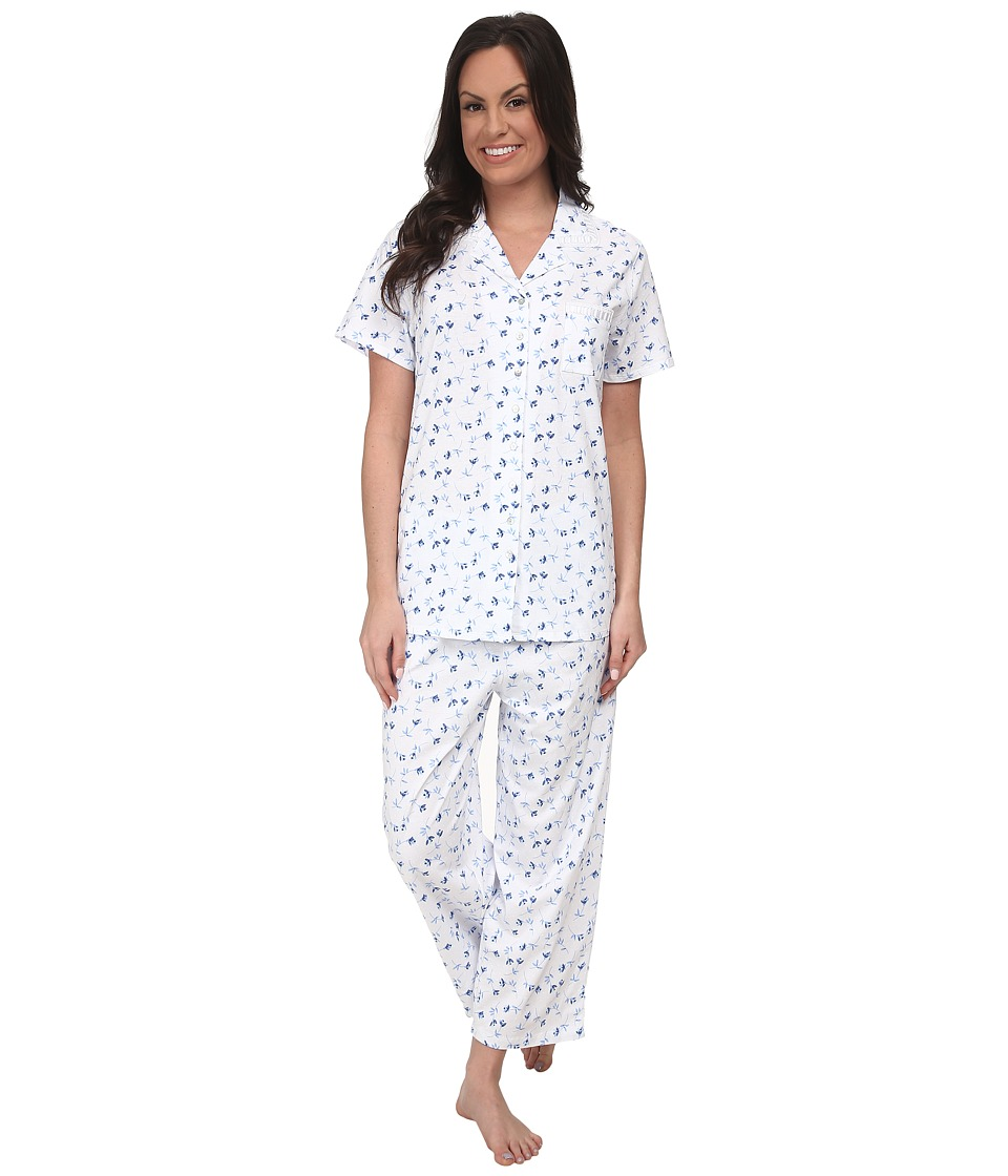 Eileen West - Seaside Notch Capris PJ (White/Blue Print) Women's Pajama Sets